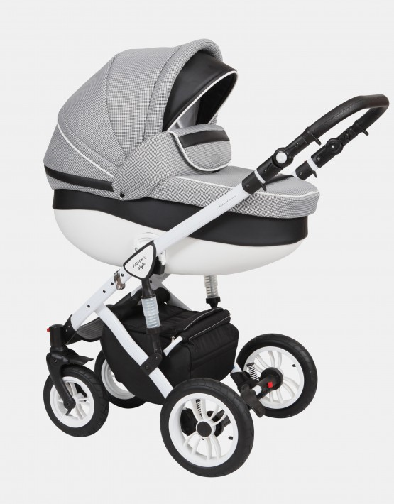 Baby Merc Faster Style2 2in1 FII-3 Pepitamuster - Ekoleder Schwarz
