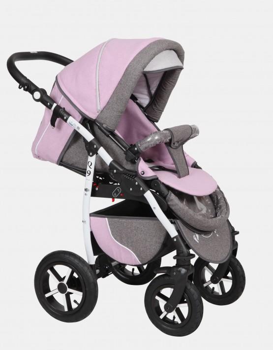 Baby Merc Q9 3in1 Q9-57 Dunkelgrau (Leinen) - Pink (Leinen) - Hellgrau (Leinen)