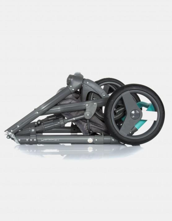 Adamex Monte Carbon Deluxe 3in1 D2 Dunkelgrau und Mint mit weißem Leder