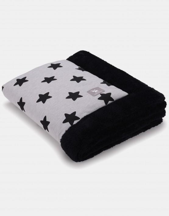 Cottonmoose Winter Blanket – Sternenmuster schwarz auf natur, Einband schwarz