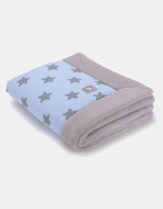 Cottonmoose Winter Blanket - Sternenmuster blau auf natur Einband grau