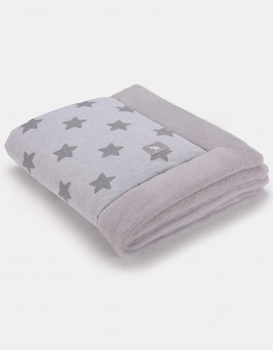 Cottonmoose Winter Blanket – Sternenmuster grau auf natur Einband grau