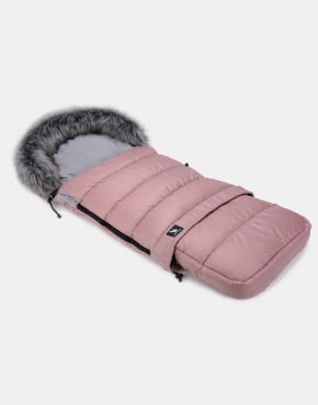 Cottonmoose Footmuff Moose Combi mit Fell Rosa - Grau