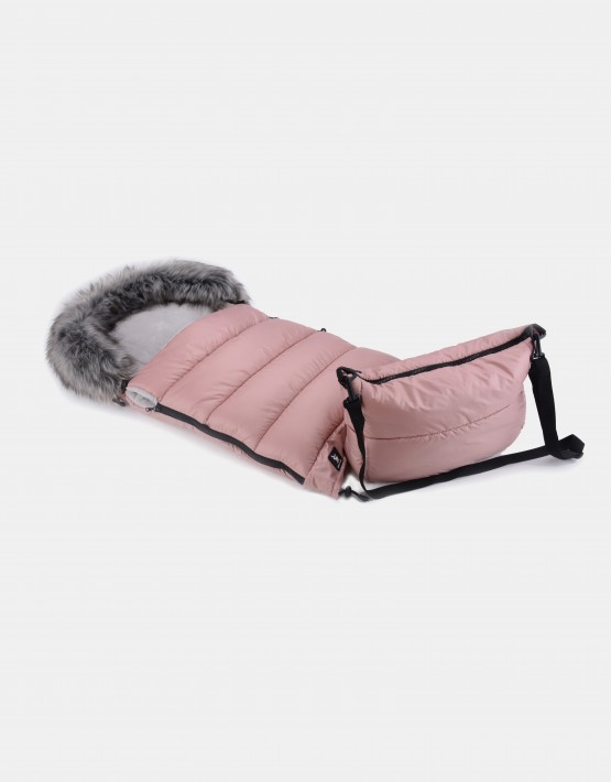 Cottonmoose Footmuff Moose Combi mit Fell Rosa - Grau