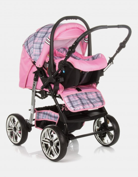 Karex Pascal 15 Rosa - Kariert 3in1 mit Autositz
