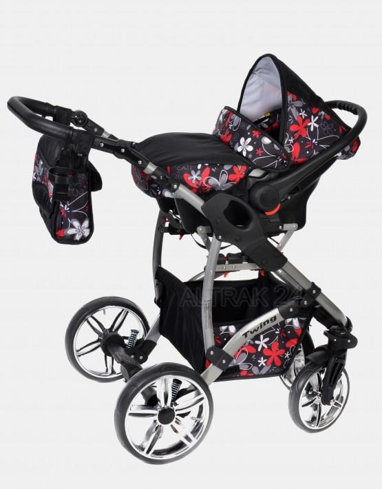 Karex Twing Schwarz-Farbige Blumen 3in1 mit Autositz