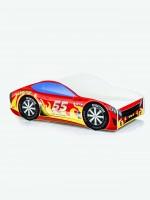 Auto-Kinderbett mit Matratze und Lattenrost Feuerrot mit gelben Flammen (6)
