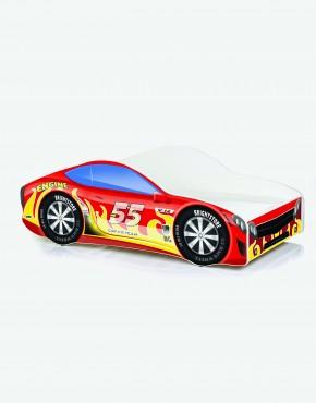 Auto-Kinderbett Nobiko mit Matratze und Lattenrost Feuerrot mit gelben Flammen 14 180x80cm