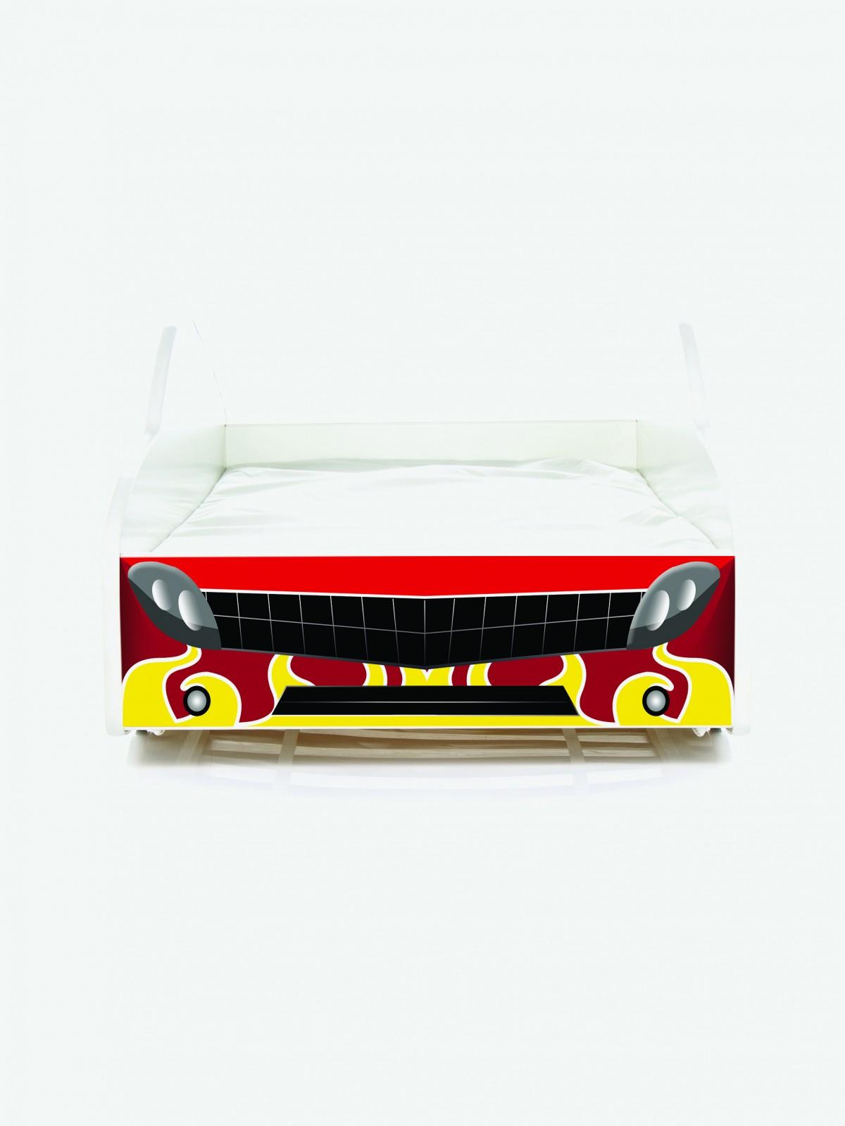 Auto-Kinderbett Nobiko mit Matratze und Lattenrost Feuerrot mit ...