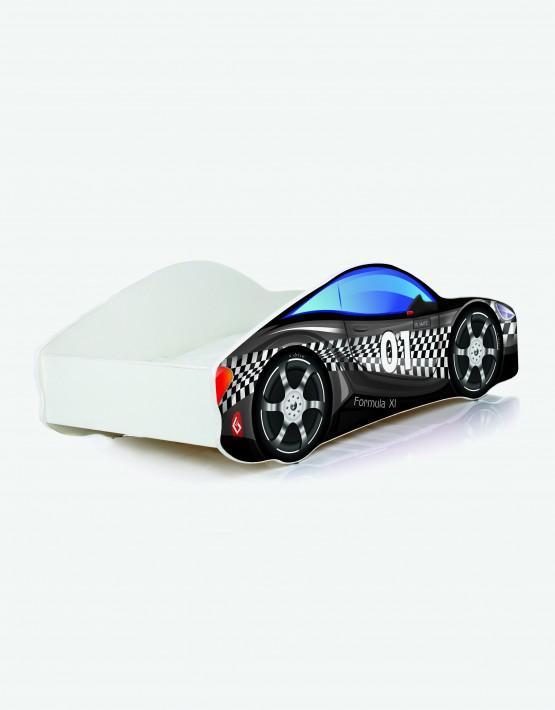Auto-Kinderbett Nobiko mit Matratze und Lattenrost Muster-Schwarz mit weisser Beschriftung 12 180x80cm