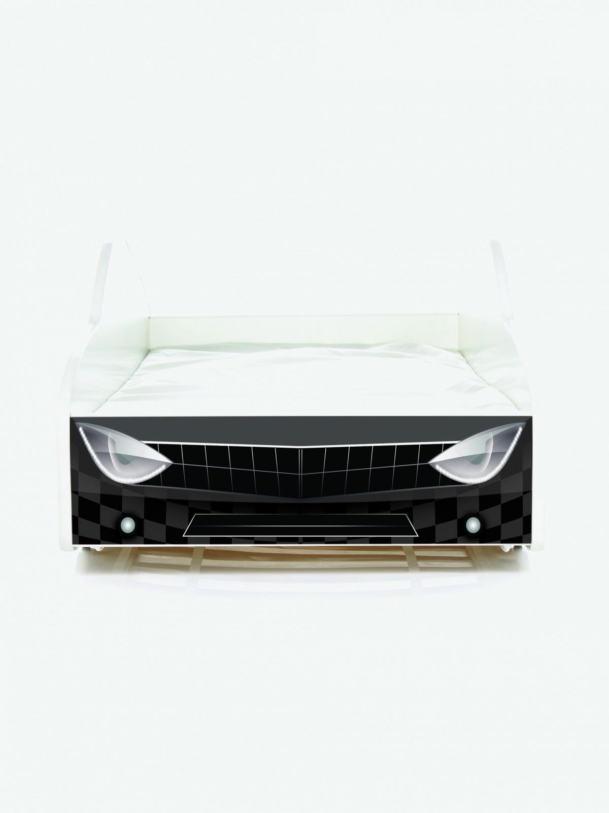 Auto-Kinderbett Nobiko mit Matratze und Lattenrost Muster-Schwarz ...