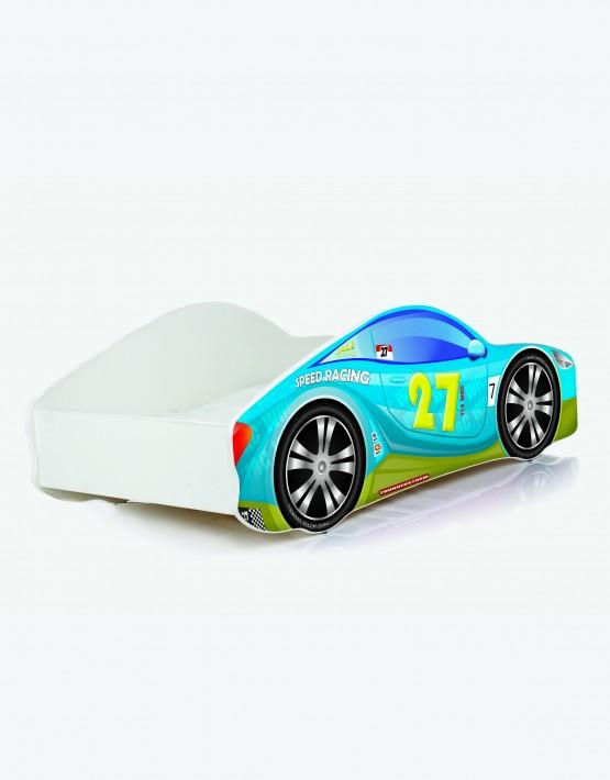 Auto-Kinderbett Nobiko mit Matratze und Lattenrost Oliv-Blau 8 160x80cm