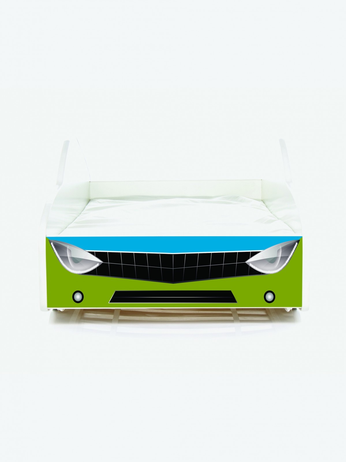 auto kinderbett nobiko mit matratze und lattenrost oliv blau 8 180x80cm. Black Bedroom Furniture Sets. Home Design Ideas