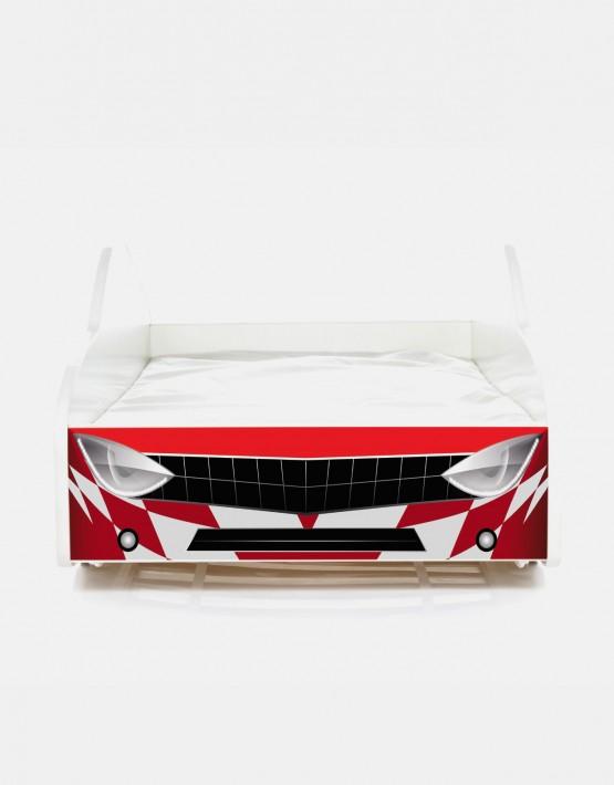 auto kinderbett nobiko mit matratze und lattenrost rot 5 160x80cm. Black Bedroom Furniture Sets. Home Design Ideas