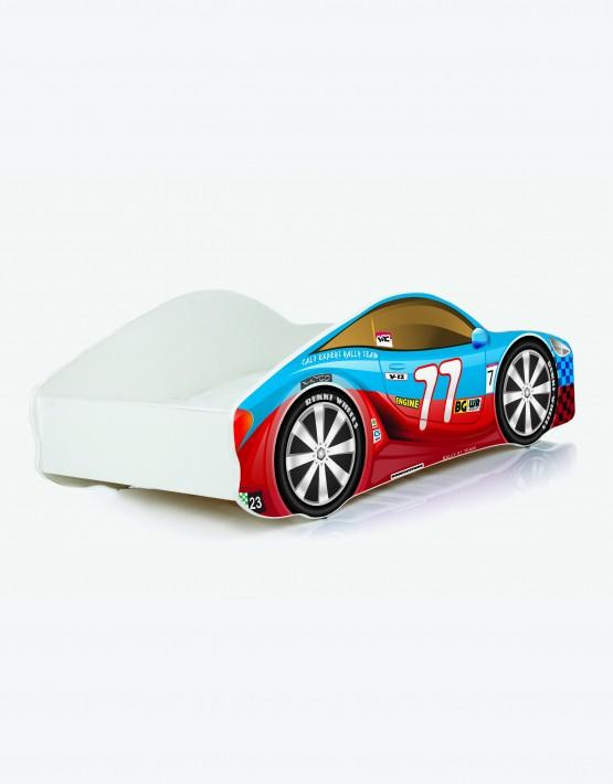 Auto-Kinderbett Nobiko mit Matratze und Lattenrost Rot-Blau 7 160x80cm