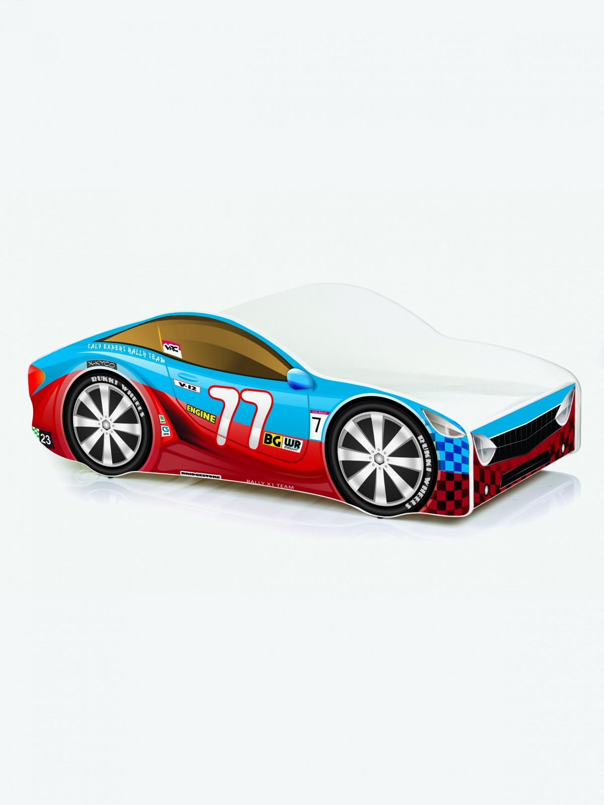auto kinderbett nobiko mit matratze und lattenrost rot blau 7 140x70cm. Black Bedroom Furniture Sets. Home Design Ideas