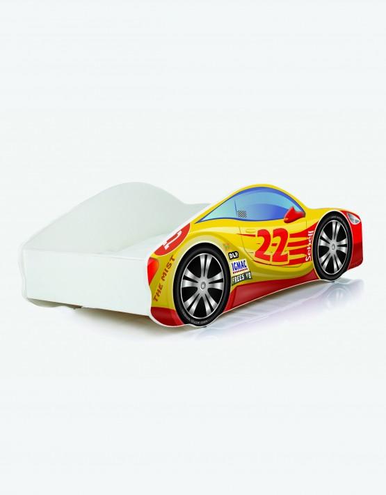 Auto-Kinderbett Nobiko mit Matratze und Lattenrost Rot mit gelber Beschriftung 10 140x70cm