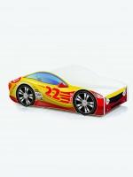 Auto-Kinderbett mit Matratze und Lattenrost Rot mit gelber Beschriftung (2)