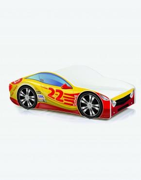 Auto-Kinderbett Nobiko mit Matratze und Lattenrost Rot mit gelber Beschriftung 10 180x80cm