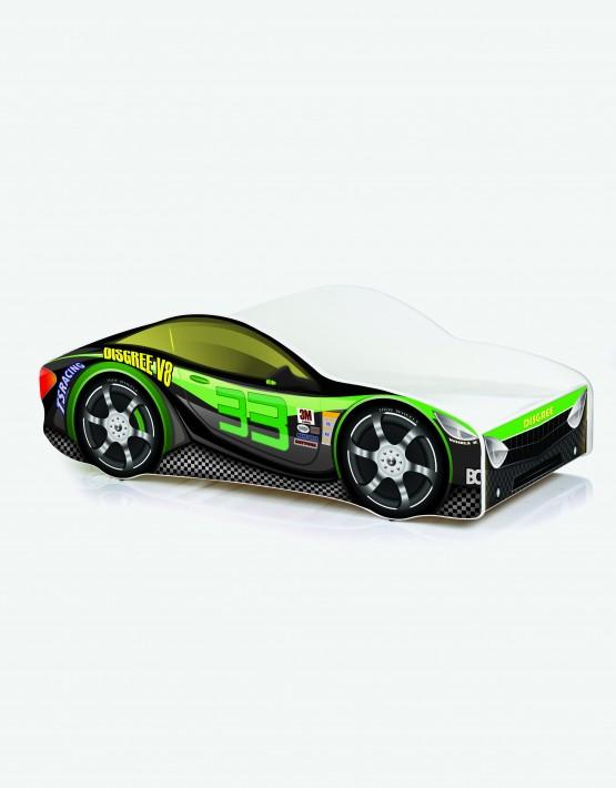 Auto-Kinderbett Nobiko mit Matratze und Lattenrost Schwarz-Grün 9 160x80cm
