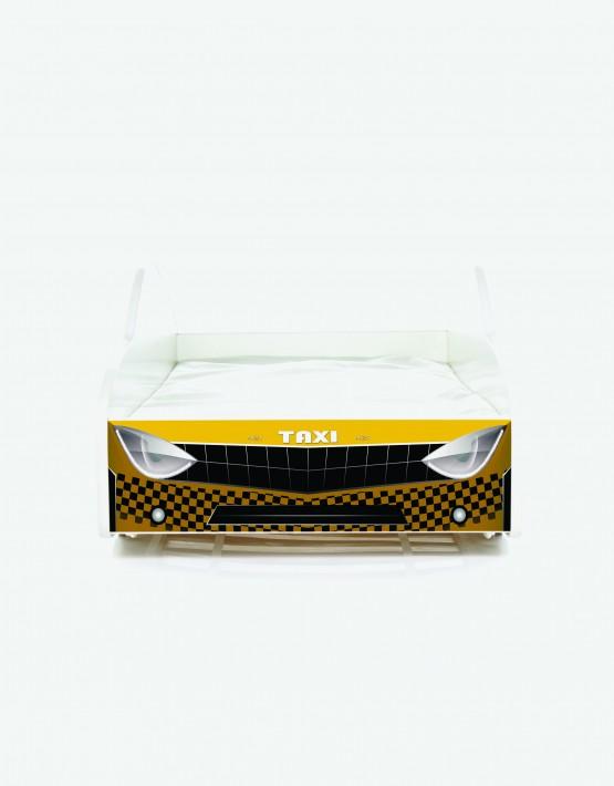 Auto-Kinderbett Nobiko mit Matratze und Lattenrost Taxi-Gelb mit dunkler Beschriftung 11 140x70cm