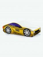 Auto-Kinderbett mit Matratze und Lattenrost Taxi-Gelb mit dunkler Beschriftung  (9)