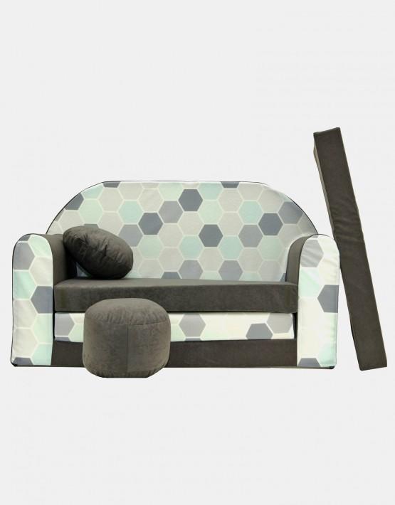 Welox Kindersofa aus Schaumstoff mit Kissen und Matratze A48