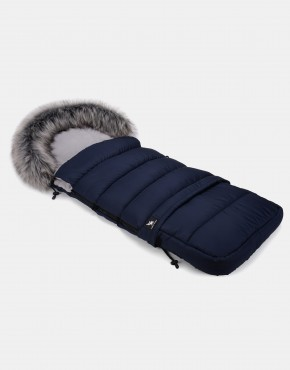 Cottonmoose Footmuff Moose Combi mit Fell Dunkelblau - Grau