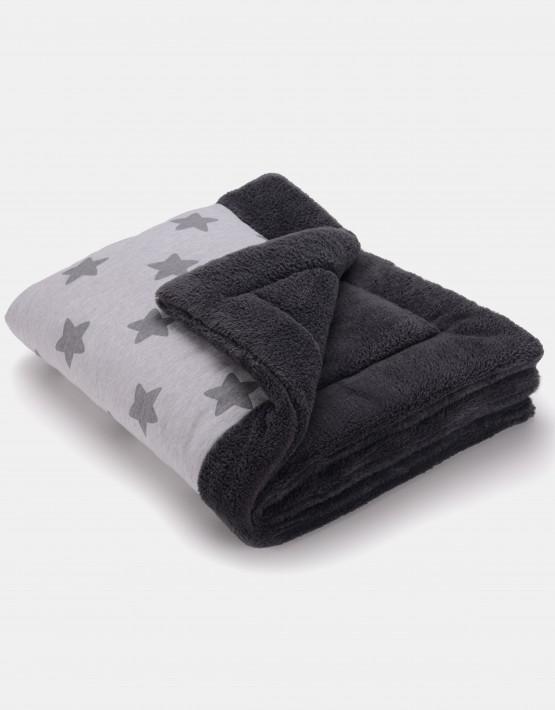 Cottonmoose Winter Blanket – Sternenmuster grau auf natur, Einband graphite