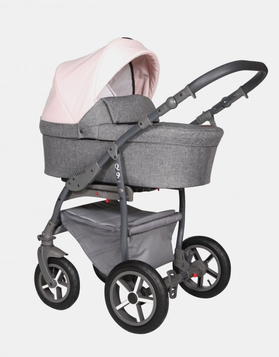 Baby Merc Q9 183A Anthrazit Pastelrosa - Graues Gestell 2in1