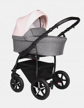 Baby Merc Q9 183B Anthrazit Pastelrosa - Schwarzes Gestell 3in1