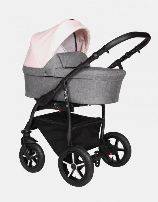 Baby Merc Q9 183B Anthrazit Pastelrosa - Schwarzes Gestell 2in1