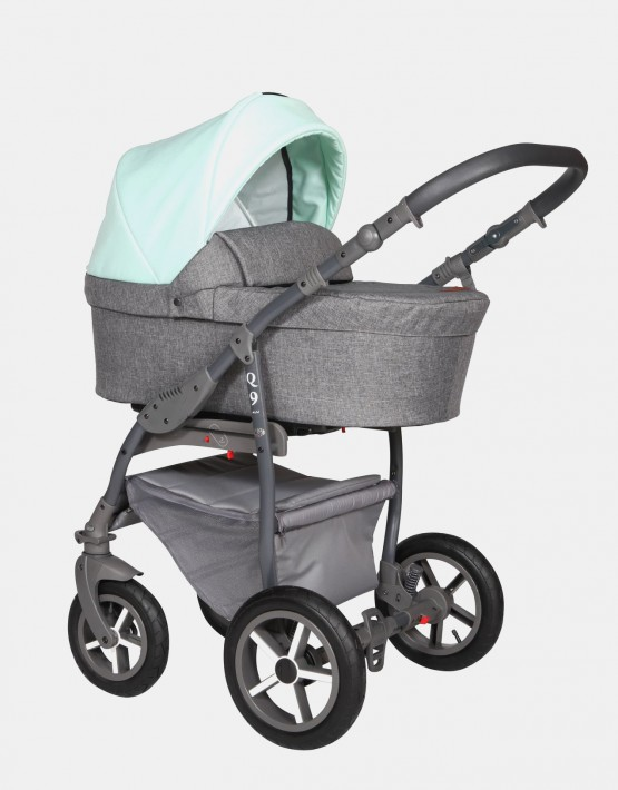 Baby Merc Q9 184A Anthrazit Mint - Graues Gestell 2in1