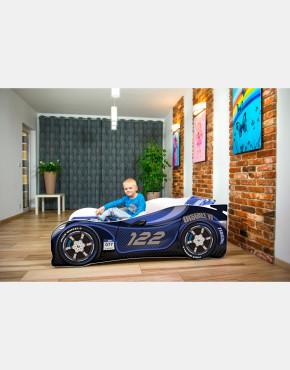 Nobiko Kinderbett und Spielbett in Auto-Form 140 x 70 cm Duneklbalu 122 Rennwagenmotive