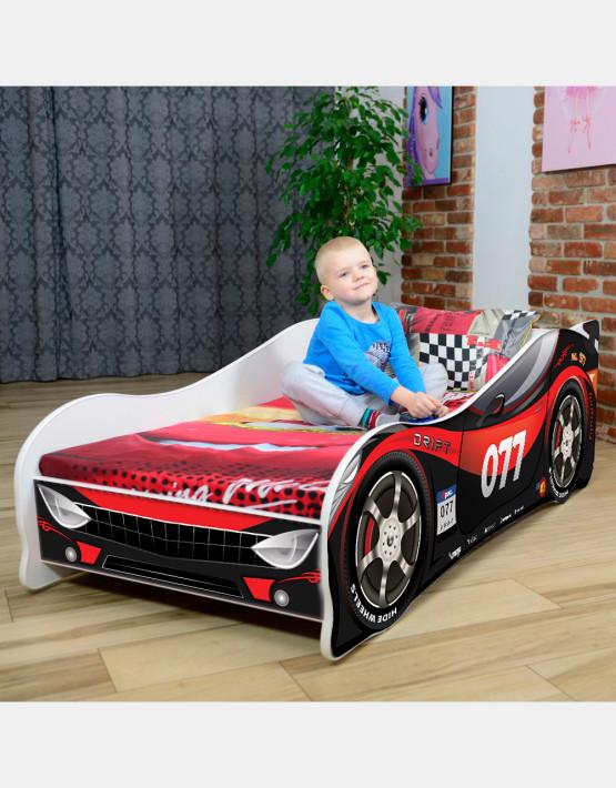 Nobiko Kinderbett und Spielbett in Auto-Form 140 x 70 cm Schwarz - Rot 077 Rennwagenmotive