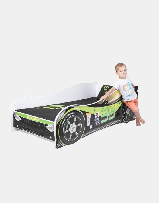 Nobiko Kinderbett und Spielbett in Auto-Form 140 x 70 cm Grün - Schwarz 33 Rennwagenmotive