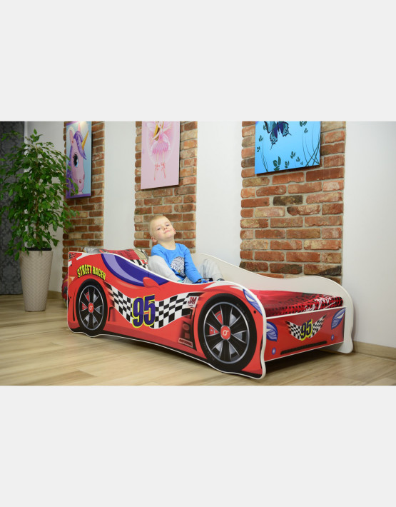 Nobiko Kinderbett und Spielbett in Auto-Form 140 x 70 cm Rot 95 Rennwagenmotive
