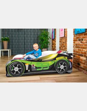 Nobiko Kinderbett und Spielbett in Auto-Form 180 X 80 cm grün - schwarz 33 Rennwagenmotive