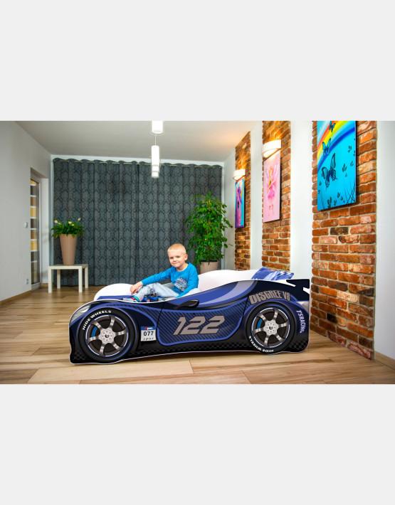 Nobiko Kinderbett und Spielbett in Auto-Form 180 X 80 cm Dunkeblau 122 Rennwagenmotive