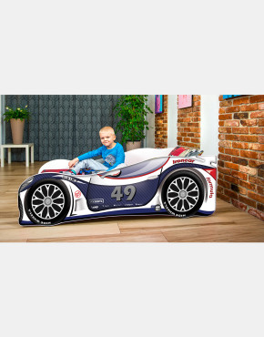 Nobiko Kinderbett und Spielbett in Auto-Form 180 X 80 cm Dunkeblau - Weiß 49 Rennwagenmotive