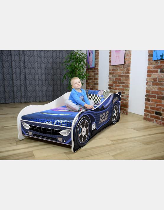 Nobiko Kinderbett und Spielbett in Auto-Form 160 X 80 cm Dunkeblau 122 Rennwagenmotive