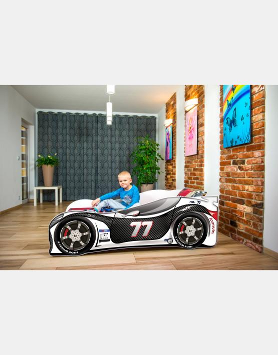 Nobiko Kinderbett und Spielbett in Auto-Form 160 X 80 cm Schwarz - Weiß 77 Rennwagenmotive