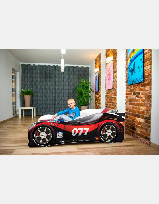 Nobiko Kinderbett und Spielbett in Auto-Form 160 X 80 cm Schwarz - Rot 077 Rennwagenmotive
