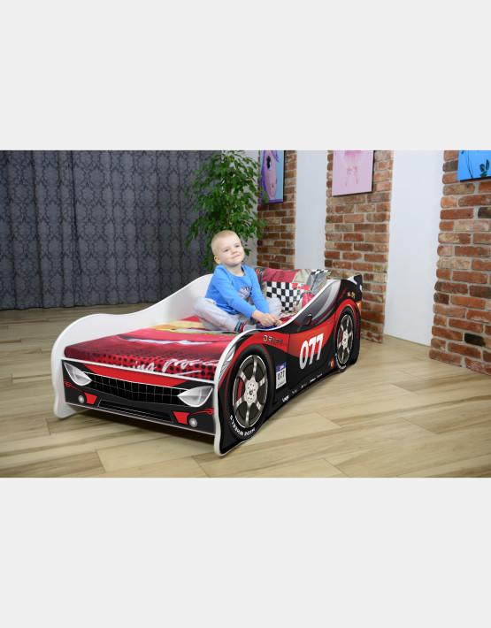 Nobiko Kinderbett und Spielbett in Auto-Form 180 X 80 cm Schwarz - Rot 077 Rennwagenmotive