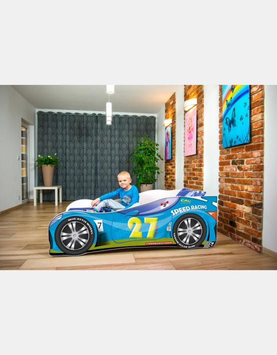 Nobiko Kinderbett und Spielbett in Auto-Form 180 X 80 cm Blau 27 Rennwagenmotive