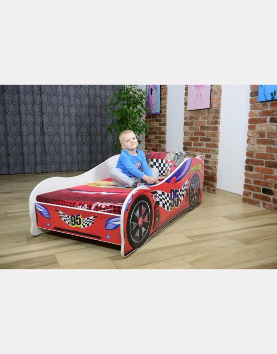 Nobiko Kinderbett und Spielbett in Auto-Form 160 X 80 cm Rot 95 Rennwagenmotive
