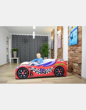 Nobiko Kinderbett und Spielbett in Auto-Form 180 X 80 cm Rot 95 Rennwagenmotive