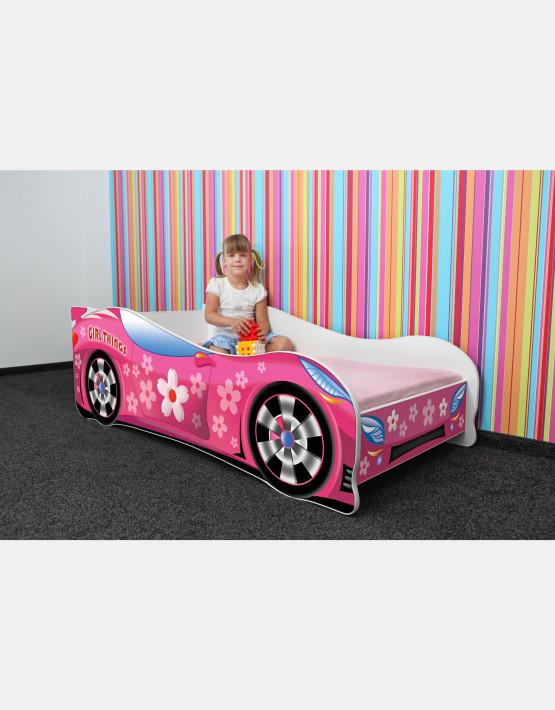 Nobiko Kinderbett und Spielbett in Auto-Form 180 X 80 cm Rosa Rennwagenmotive
