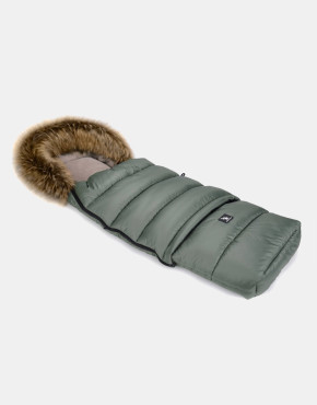 Cottonmoose Footmuff Moose Combi mit Fell Grün-Latte