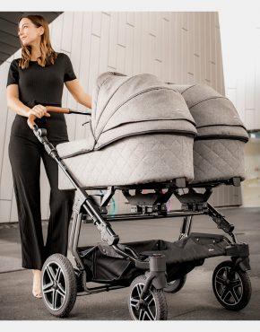 Hartan Two Select Kombi Zwillingskinderwagen Dessin 427 - Grey 2in1